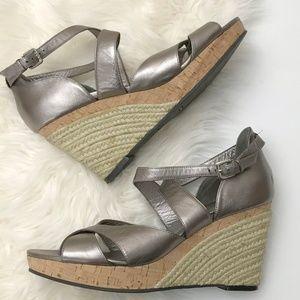 Cole Haan wedge metallic sandals espadrilles heels